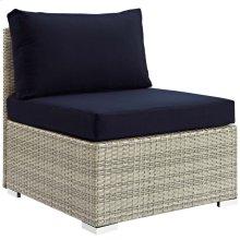 Repose Sunbrella® Fabric Outdoor Patio Armless Chair in Light Gray Navy