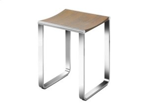 Bathroom stool - chrome-plated/walnut veneer Product Image