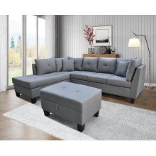 9124 Linen Fabric Sectional Sofa - Left