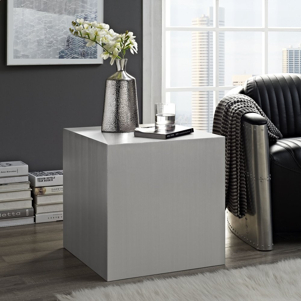 Cast Stainless Steel Side Table in Silver