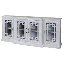 Bennett  80in X 17in X 35in  Four Door Breakfront Credenza Made of Solid Mango Wood in a White Was