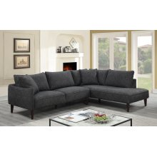 Asher Charcoal Sectional with RHF Chaise, U5203