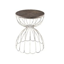 Chairside Table - Vintage White/Burnish Ale Top Finish