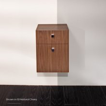"Wall-mount or free-standing cabinet with two drawers, polished chrome pulls included. 13 3/8""W, 13 3/8""D, 17 3/4""H"