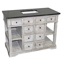 Distressed White Reclaimed 6-Drawer Vanity