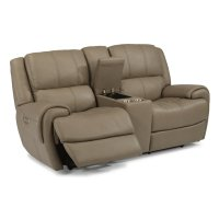 Nance Leather Power Reclining Loveseat with Console and Power Headrests Product Image