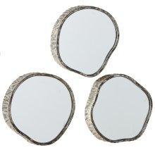 Wood Slice Mirror (3 pc. ppk.)