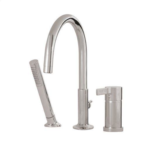 3-piece deckmount tub filler with handshower