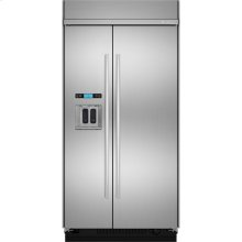 "Built-In Side-By-Side Refrigerator with Water Dispenser, 42"", Euro-Style Stainless Handle"