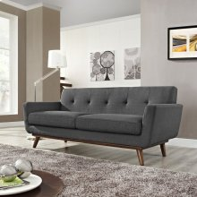 Engage Upholstered Fabric Loveseat in Gray