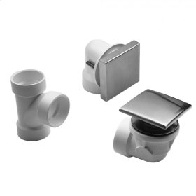 Satin Chrome - Toe Control Drain Strainer With Square No Hole Faceplate Half Kit