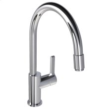 Single lever kitchen mixer with pull-out hose