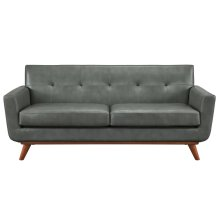 Lyon Smoke Grey Leather Loveseat