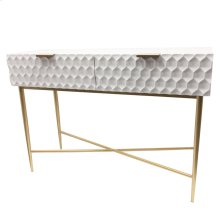 Reggie Geometric Console Table 2 Drawers Gold Legs, Glossy White