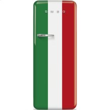 "Approx 24"" 50'S Style Refrigerator with ice compartment, Italian Flag, Right hand hinge"