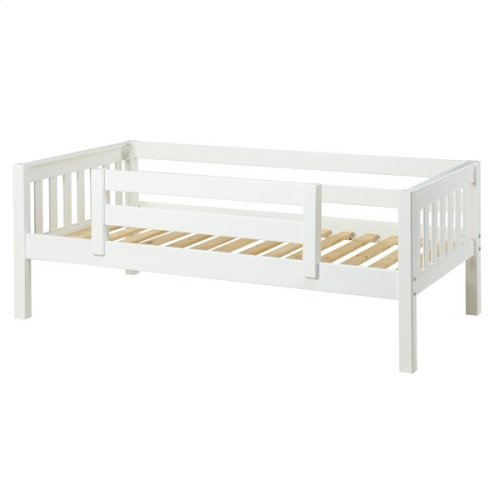 Daybed w/ Back and Front Safety Rails : Twin : White : Slat