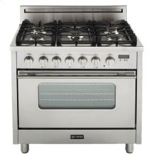 """High Gloss Black 36"""" Gas Range with Convection Oven"""