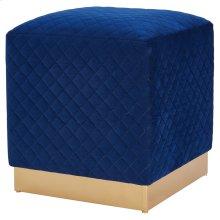 Dante Velvet Fabric Square Ottoman, Serene Dark Blue/ Gold