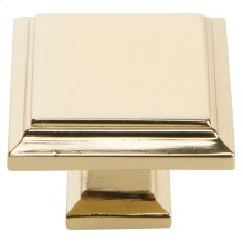 Sutton Place Square Knob 1 1/4 Inch - French Gold