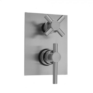 Antique Brass - Rectangle Plate with Contempo Peg Thermostatic Valve with Contempo Cross Built-in 2-Way Or 3-Way Diverter/Volume Controls (J-TH34-686 / J-TH34-687 / J-TH34-688 / J-TH34-689) Product Image