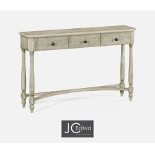 Rustic Grey Three Drawer Large Console Table
