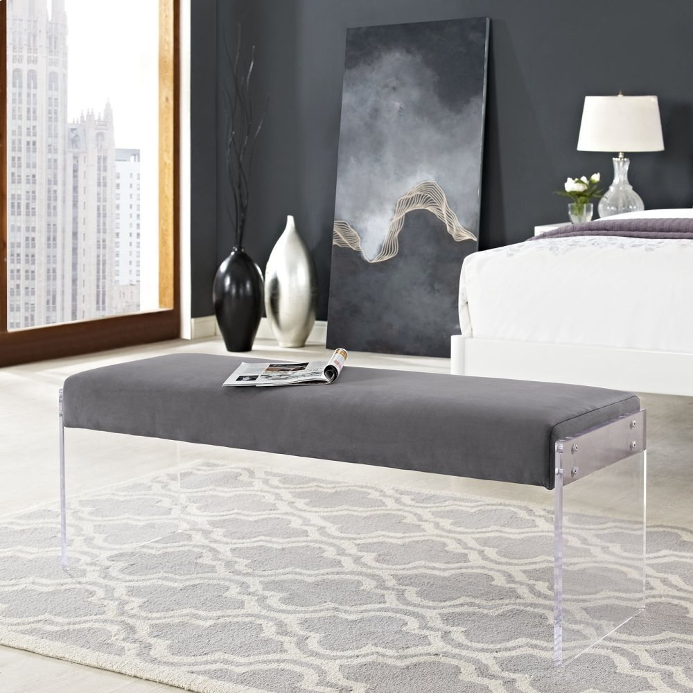Roam Performance Velvet Bench in Gray