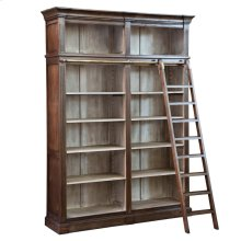 EMERSON BOOKCASE  Vintage Iron and Stonwall Finish on Hardwood with Ladder