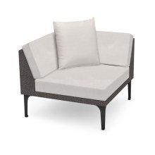 """36"""" Outdoor Dark Grey Rattan Corner Sofa Sectional, Upholstered in COM"""