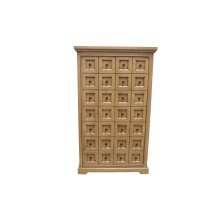 Cabinet, Available in Distressed Beige or Light Brown Finish.