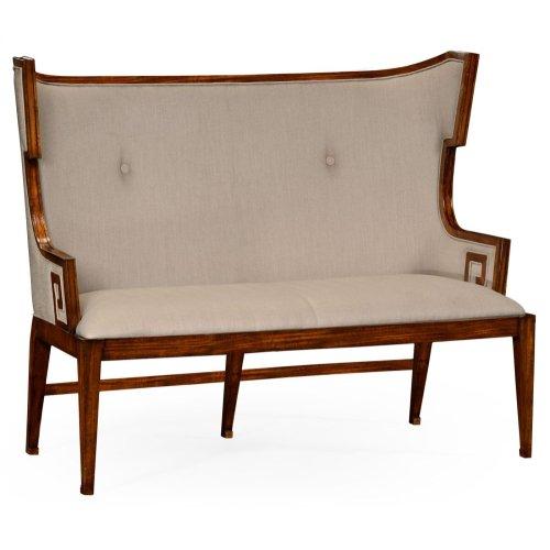 Greek Key Design Walnut Biedermeier Settee, Upholstered in MAZO