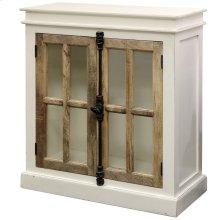 Tucker  36in X 16in X 40in  Two Door Cabinet with Clear Tempered Glass Window Pane Door Panels & C