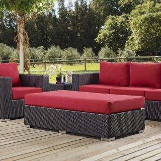 Convene Outdoor Patio Fabric Rectangle Ottoman in Espresso Red