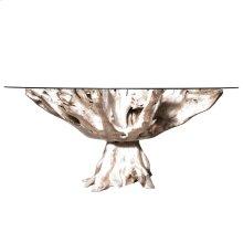 JAKARTA SMALL DINING TABLE - WHITEWASH  Whitewash Finish on Teak Wood with Round Beveled Edge Glass
