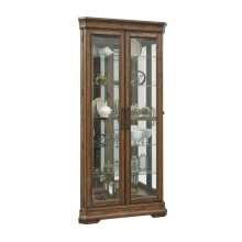 Lighted 5 Shelf Double Door Corner Curio Cabinet in Oak Brown