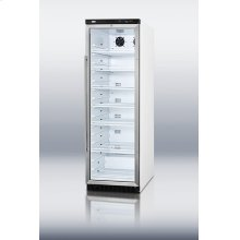 Commercial glass door beverage merchandiser with 14.5 cu.ft. capacity and a digital thermostat