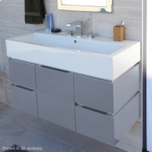 Wall-mounted undercounter vanity with finger pulls and polished steel accents, four drawers and one door, washbasin 5460 sold separately,