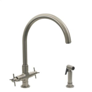 Luxe+ dual-handle faucet with a gooseneck swivel spout, cross handles, and a solid brass side spray. Product Image