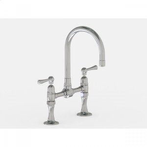 """Brushed Stainless - Deck Mount 7"""" Swivel Bar Faucet Spout with Metal Lever Product Image"""