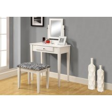 VANITY SET - 2PCS SET / WHITE WITH A ZEBRA FABRIC STOOL