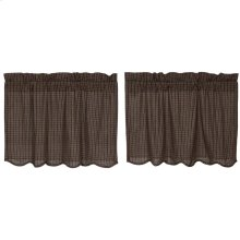 Kettle Grove Plaid Tier Curtain Scalloped Set of 2 L24xW36