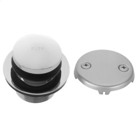 Pewter - Toe Control Tub Drain Strainer with Faceplate (Two Hole)