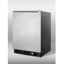 Frost-free freezer for built-in undercounter use, with stainless steel door, horizontal handle, and factory installed icemaker