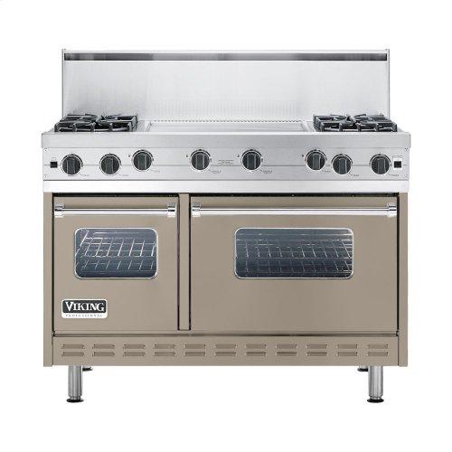 """Taupe 48"""" Open Burner Commercial Depth Range - VGRC (48"""" wide, four burners 24"""" wide griddle/simmer plate)"""