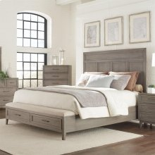 Vogue - King/california King Upholstered Bench Storage Footboard - Gray Wash Finish