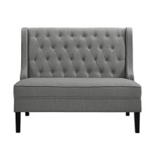 Tufted Shelter Wing Entryway Bench in Ash Grey