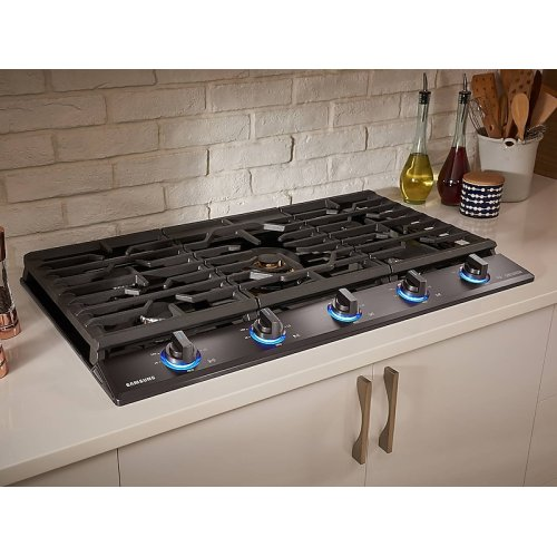 """36"""" Chef Collection Gas Cooktop with 22K BTU Dual Power Burner in Matte Black Stainless Steel"""