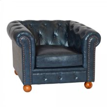 Winston Antique Blue Bonded Leather Sofa Chair