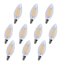 LED E12 CANDELABRA, 3000K, 300°, CRI80, ES, UL/CUL, 4W, 40W EQUIVALENT, 15000HRS, LM300, DIMMABLE, 2 YEARS WARRANTY, INPUT VOLTAGE 120V 10 PACK