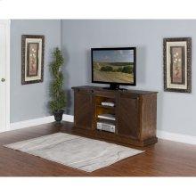 Dark Chocolate Slanted Panel Barn Door TV Console