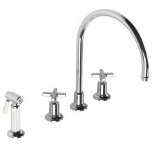 Fleetwood cross handle 4-hole kitchen mixer with white pull-out hand-spray